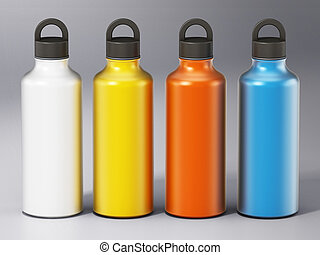 Colored water bottles isolated on gray background. 3D illustration