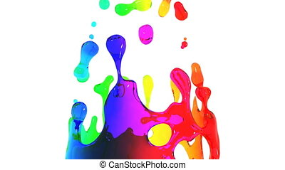 CG animation of colored paint water splashes in slow motion on White background with Alpha channel. HD 1080.