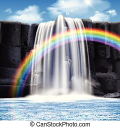 Colored Waterfalls Realistic Composition - Colored...