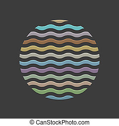 Colored waves in circle - element for design