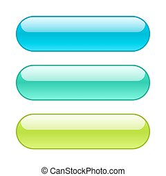 Colored web buttons. Rounded shape with outlines.