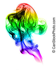 Colored with gradient fume abstract on white