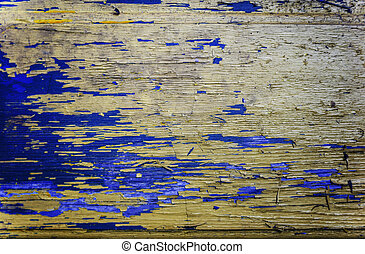 Colored wood background with peeling old paint