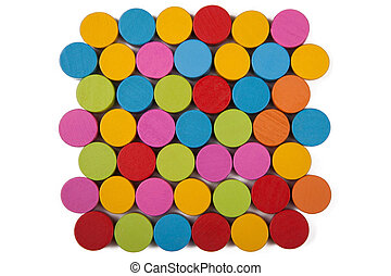 Colored wooden circles isolate