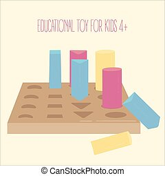 Colored wooden geometric forms pegboard game. Educational learning montessori toy for kids 4 and above age. Match geometrical forms in holes. Cylinder, square and triangles. Vector illustration