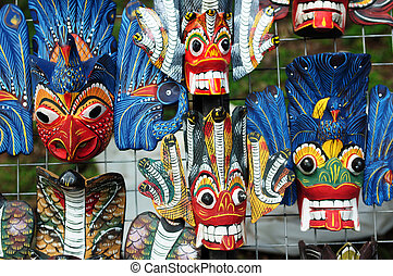 Traditional colored wooden masks in Sri Lanka