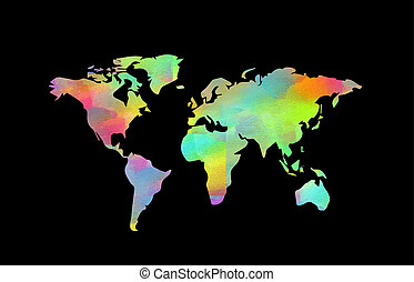 Sliced world map colored continents on black. Sliced world map ...