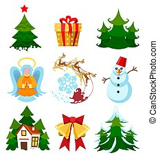 Colored xmas icons - Colored xmas items. Christmas icons...
