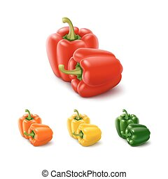 Colored Yellow Green Orange Red Sweet Bulgarian Bell Peppers, Paprika