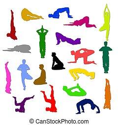 colored yoga silhouettes