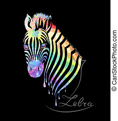 Colored zebra silhouette