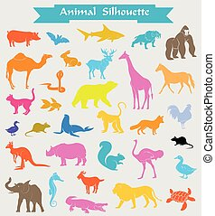 Colored Zoo Animals Silhouettes Set