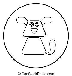 colorer image, chien, illustration, simple, vecteur, noir, icône