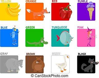 colores, conjunto, primario, educativo