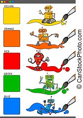 colores, conjunto, robotes, caricatura, básico