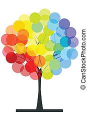colores del arco iris, árbol