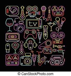 colores, entretenimiento, neón, iconos