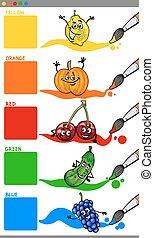 colores, fruta, primario