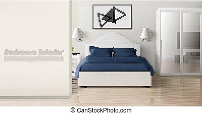 colores, moderno, monocromo, dormitorio, interior, hogar