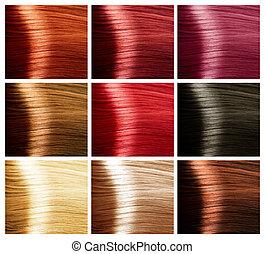 colores, pelo, paleta