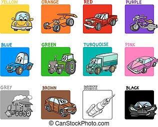 colores, principal, caricatura, colección