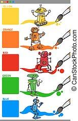 colores, robotes, caricatura, primario