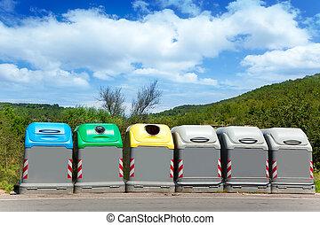 colores, selectivo, basura, contenedores, ecologic
