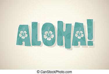 colores, vector, palabra, retro, aloha