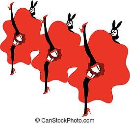 colorete de moulin, niñas, bailando