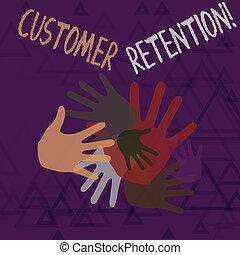 colorez photo, actions, signe, différent, collaboration, prendre, texte, conceptuel, activités, clients, projection, marques, chevaucher, main, creativity., client, retention., tailles, sociétés, retenir, ou