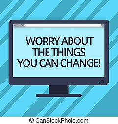 colorez photo, actions, signe, informatique, vide, souci, change., moniteur, choses, bureau, charge, texte, conceptuel, progrès, vous, projection, être, écran, possible, monté, bar., sur, boîte