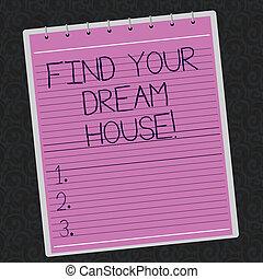 colorez photo, house., recherche, maison, ton, parfait, appartement, spirale, écriture, arrière-plan., trouver, conceptuel, business, watermark, projection, bloc-notes, main, imprimé, revêtu, showcasing, propriété, rêve