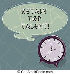 colorez photo, talent., sien, sommet, écriture, parole, texte, conceptuel, bulle, capacité, business, projection, clock., main, retenir, contour, employés, garder, pensée, organisation, reveil