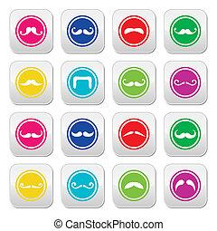 colorfu, moustache, ou, moustache, rond