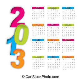 2013 calendar - colorful 2013 calendar over white...