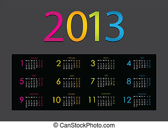 colorful 2013 calendar with special design