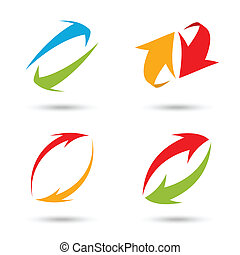 Colorful 3d arrows set