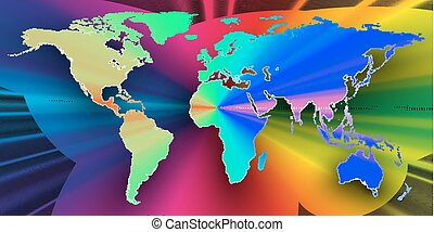 Colorful 3d background with world map, abstract waves, lines. Bright color curves, swirl. Motion design. Colourful vector decoration.