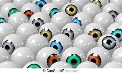 Colorful 3D eyes/ eyeballs - animation, white background.