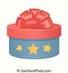 Colorful 3d gift box bow and ribbons vector. Gift boxe...