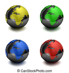 Colorful 3D globes