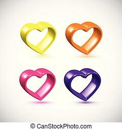 Colorful 3D heart frame set, vector