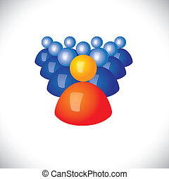 colorful 3d icons or signs of army of soldiers & commander - vector graphic. This illustration also represents sports captain and players, winner and losers, political leader & followers, gang, troop