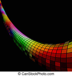 Colorful 3D mosaic pipe background with black copy space.