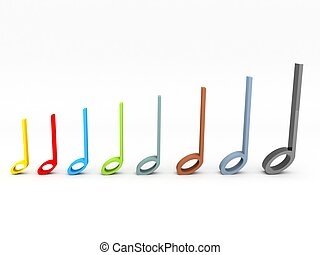 musical notes - colorful 3D musical notes