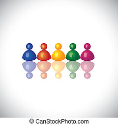 colorful 3d office staff or company employees icons or signs...