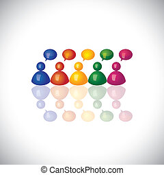 colorful 3d office staff or employees icons talking & chatting - vector graphic. This illustration can represent employee meetings, group discussions, brain storming, airing opinions, teamwork