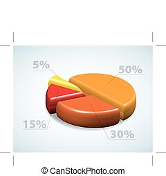 Colorful 3d pie chart graph with percentages