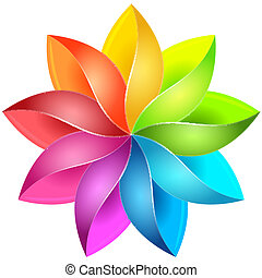 Colorful 3D pinwheel - Colorful 3D pinwheel with red, green,...
