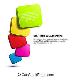 Colorful 3D rectangle background.